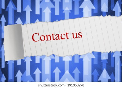 The word contact us against futuristic arrow pointing upwards