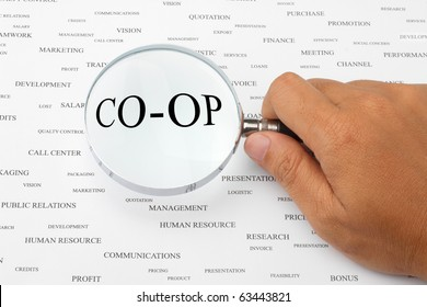 The word CO-OP is magnified.