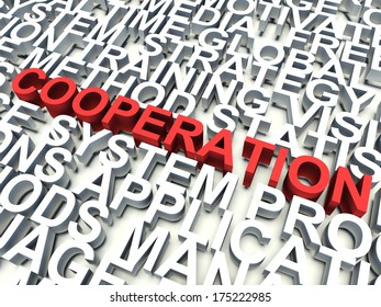 Word Cooperation in red, salient among other related keywords concept in white. 3d render illustration.
