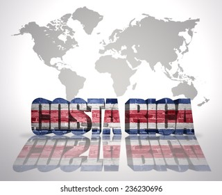 Word Costa Rica with Costa Rican Flag on a world map background