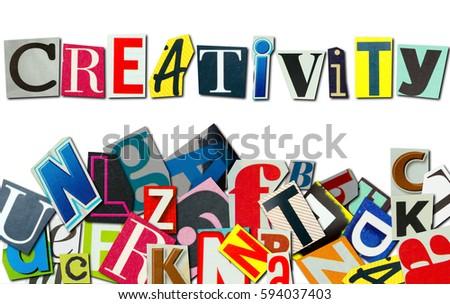 word creativity build letters magazines stock photo edit now