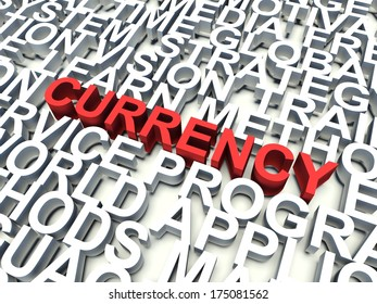 Word Currency in red, salient among other related keywords concept in white. 3d render illustration.