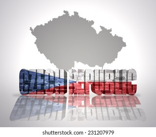 Word Czech republic with National Flag near map of Czech republic