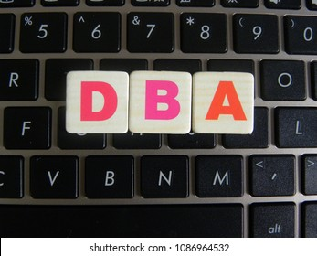 Word DBA (Database administrator) on keyboard background