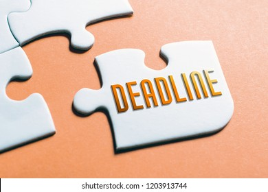 The Word Deadline In Missing Piece Jigsaw Puzzle