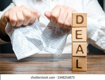 Word deal and businessman is breaking a contract in the background. Contract break unilaterally. Termination of employment, withdrawal from the agreement. Violation and default, conflict.