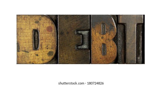 The word DEBT written in vintage letterpress type
