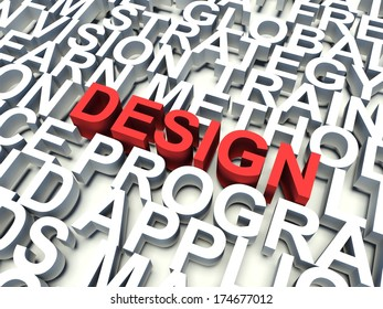 Word Design in red, salient among other related keywords concept in white. 3d render illustration.
