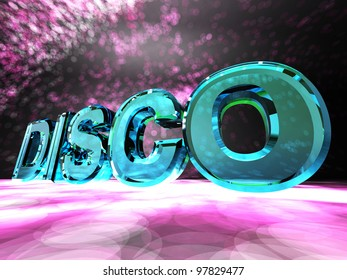 "The word ""Disco"" on a colorful background"