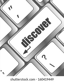 word discover on computer keyboard key, raster