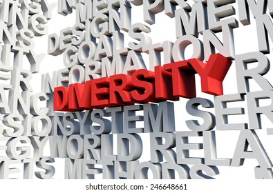 Word Diversity in red, salient among other related keywords concept in white. 3d render illustration.