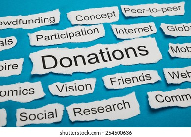 Word Donations On Piece Of Paper Salient Among Other Related Keywords