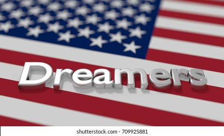 The word dreamers on an american flag daca immigration concept 3D illustration