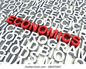 Word Economics in red, salient among other related keywords concept in white. 3d render illustration.