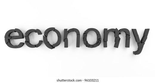 Word economy broken for economic crisis symbols