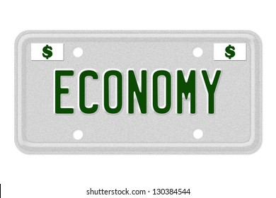 The word Economy on a gray license plate with dollar sign symbol isolated on white, Economy Car  License Plate