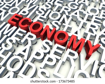 Word Economy in red, salient among other related keywords concept in white. 3d render illustration.