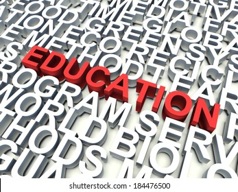 Word Education in red, salient among other related keywords in white. 3d render illustration.