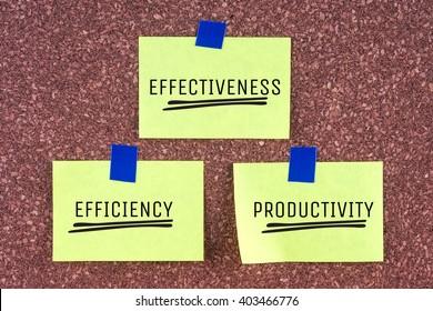 word effectiveness efficiency productivity on note paper cork board