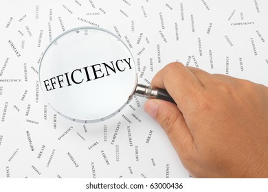 The word, EFFICIENCY is magnified.
