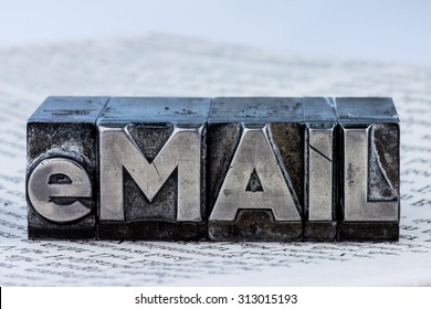 """the word """"e-mail"""" in lead letters written. symbolic photo for fast correspondence"""