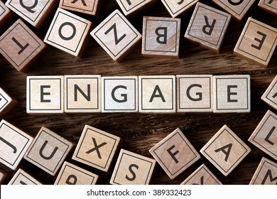 the word of ENGAGE on building blocks concept