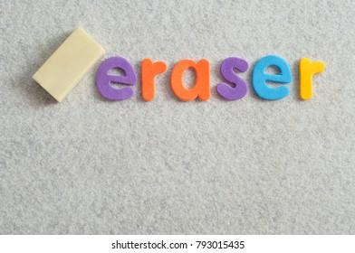 The word eraser displayed with an eraser