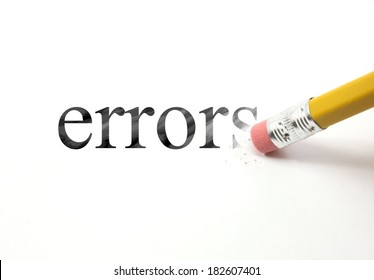 The word errors written with a pencil on white paper.  An eraser from a pencil is starting to erase the word errors.