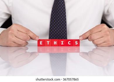 Word ETHICS with blocks