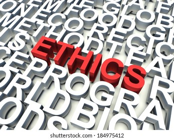 Word Ethics in red, salient among other related keywords concept in white. 3d render illustration.