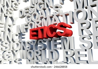 Word Etics in red, salient among other related keywords concept in white. 3d render illustration.