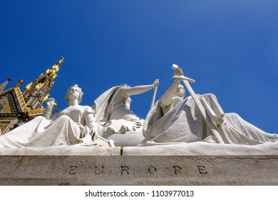 The word Europe inscribed below a statue
