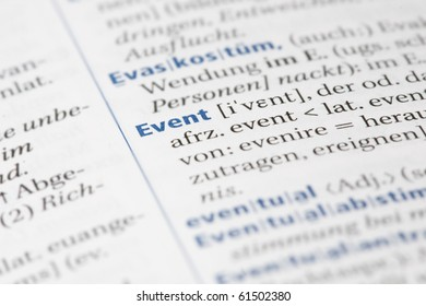 Word event written in a dictionary