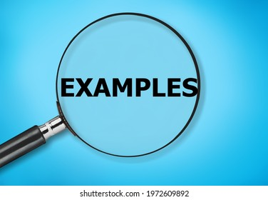 The word EXAMPLE text on a magnifying glass on a background.