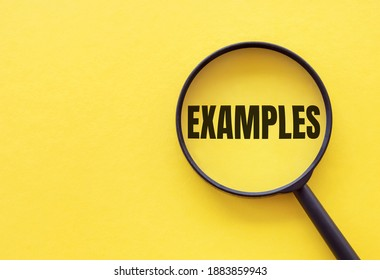 The word EXAMPLE is written on a magnifying glass on a yellow background.