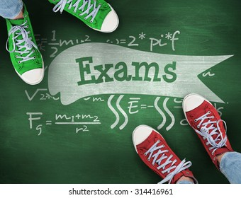 The word exams and casual shoes against green chalkboard