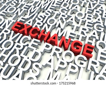 Word Exchange in red, salient among other related keywords concept in white. 3d render illustration.