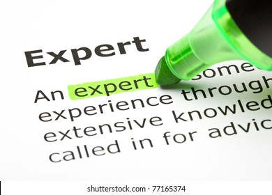 The word Expert highlighted with green marker.