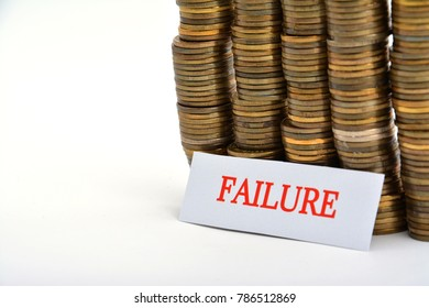 Word failure with coins isolated on white background