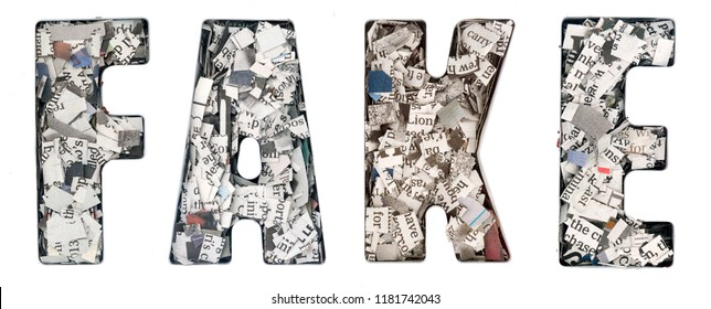 the word   FAKE made up of lots of cut up newspaper  isolated
