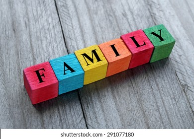 word family on colorful wooden cubes