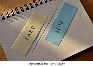 "The word ""FAST"" and ""SLOW"" stamped on slip. In diagonal angle."