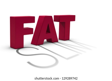 Word fat and a slim shadow over white background