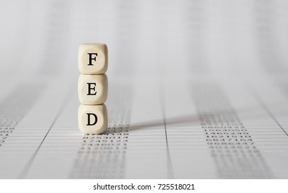 Word FED made with wood building blocks,stock image