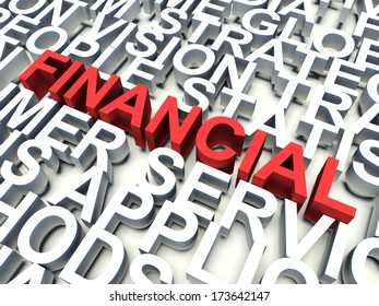 Word Financial in red, salient among other related keywords concept in white. 3d render illustration.