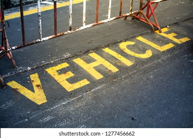 """Word """"fire vehicle"""" sign on the  road"""