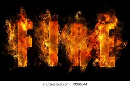 the word FIRE written with letters made from fire