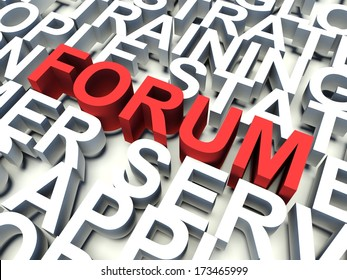 Word Forum in red, salient among other related keywords concept in white. 3d render illustration.