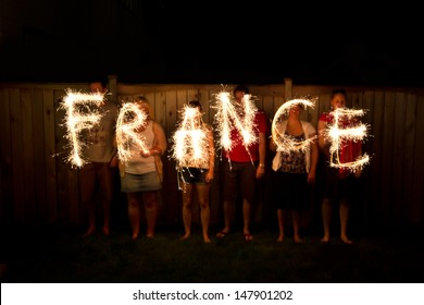 The word France in sparklers time lapse photography