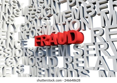 Word Fraud in red, salient among other related keywords concept in white. 3d render illustration.